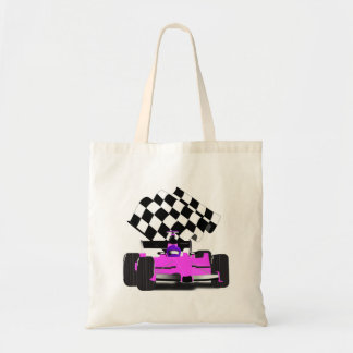 Girly Pink Race Car with Checkered Flag Tote Bags