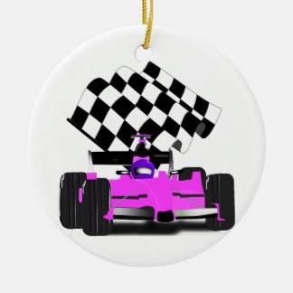 Girly Pink Race Car with Checkered Flag Round Ceramic Decoration