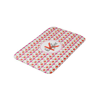 Girly Pink & Red Tulip Floral with Custom Monogram Bath Mat