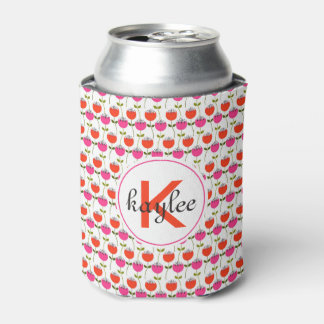 Girly Pink & Red Tulip Floral with Custom Monogram Can Cooler