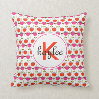 Girly Pink & Red Tulip Floral with Custom Monogram Cushion