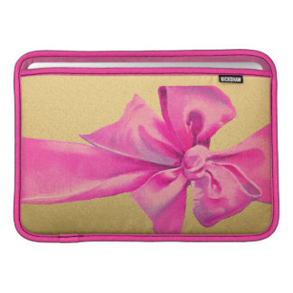 Girly Pink Ribbon Bow on Gold Shimmer Sleeve For MacBook Air