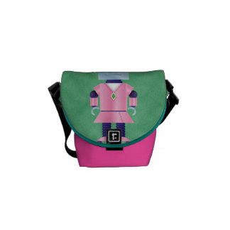 Girly Pink Robot Courier Bag