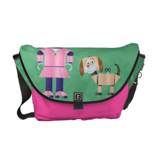 Girly Pink Robot Messenger Bags