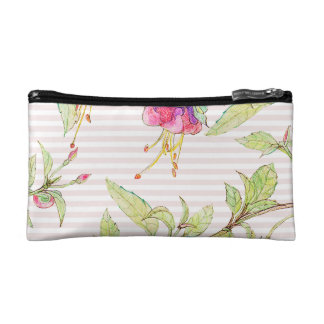 Girly Pink Rose Floral Pattern Cosmetic Bag