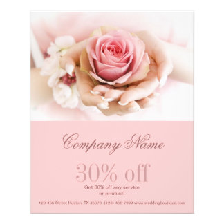 girly pink rose  wedding florist business 11.5 cm x 14 cm flyer