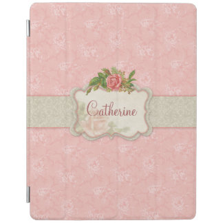 Girly Pink Roses and Damask Personalized iPad Cover