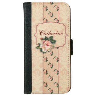 Girly Pink Roses and Damask Personalized iPhone 6 Wallet Case