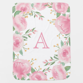 Girly Pink Roses Watercolor Flowers Monogram Baby Blanket