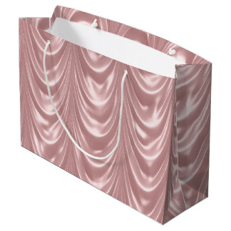 Girly Pink Ruched Faux Satin Scalloped Pattern Large Gift Bag