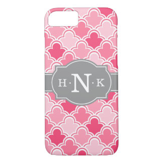 Girly Pink Scallop Pattern Grey Monogram Tile iPhone 8/7 Case
