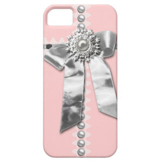Girly Pink Silver Bow Printed iPhone 5 Case