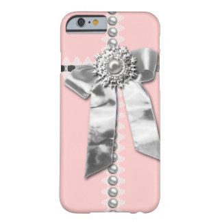 Girly Pink Silver Bow Printed iPhone 6 case