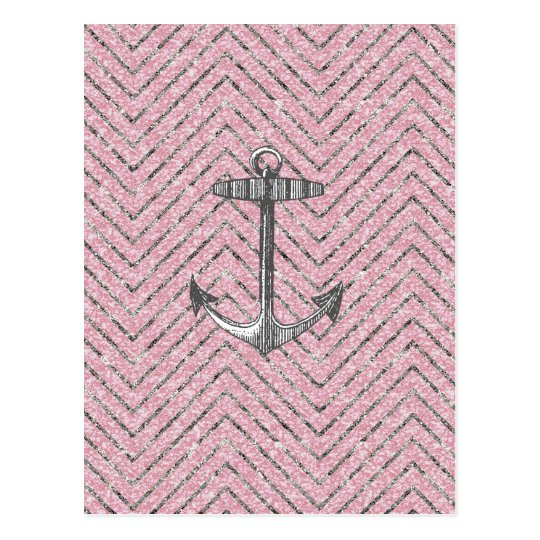 Girly Pink Silver Glitter Chevron Pattern Anchor Postcard