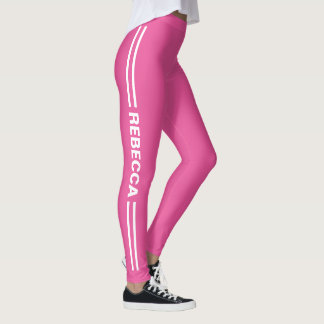 Girly Pink Sports Striped Outfit with Custom Name Leggings