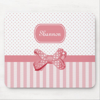 Girly Pink Stripes Cute Polka Dot Bow With Name Mouse Mat