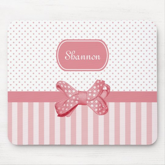 Girly Pink Stripes Cute Polka Dot Bow With