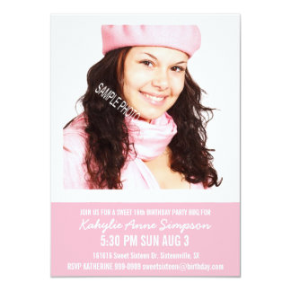 """Girly Pink Sweet 16 Party with Photo 4.5"""" X 6.25"""" Invitation Card"""