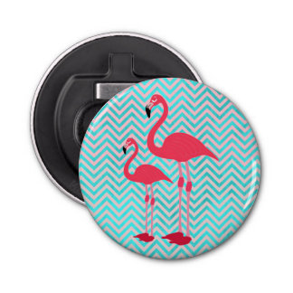 Girly Pink Teal Chevron Elegant Cute Flamingos Bottle Opener