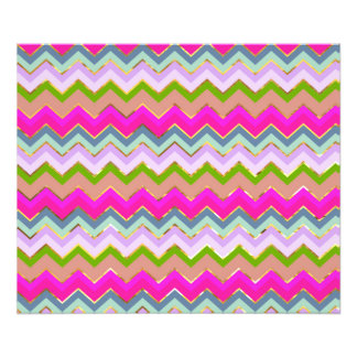 Girly Pink Teal Chevron Gold Glitter Photo Print