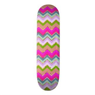 Girly Pink Teal Chevron Gold Glitter Photo Print Skateboard