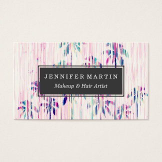 Girly Pink Teal Watercolor Dripping Palm Trees Business Card