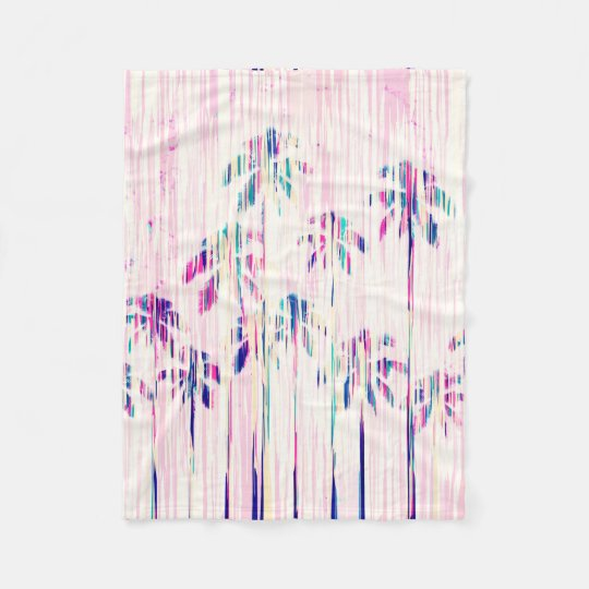 Girly Pink Teal Watercolor Dripping Palm Trees Fleece