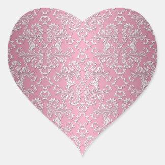 Girly Pink Victorian Damask Pattern Heart Sticker