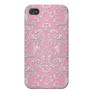 Girly Pink Victorian Damask Pattern Case For iPhone 4