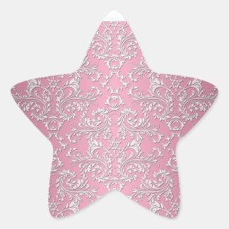 Girly Pink Victorian Damask Pattern Star Sticker