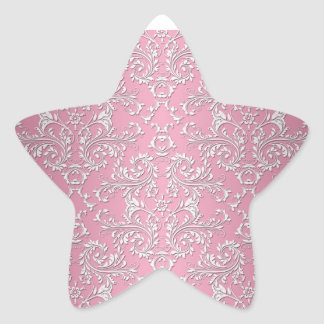 Girly Pink Victorian Damask Pattern Stickers