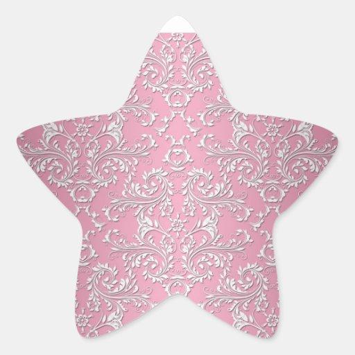 Girly Pink Victorian Damask Pattern Stickers