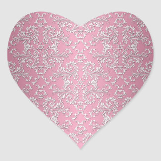 Girly Pink Victorian Damask Pattern Heart Stickers
