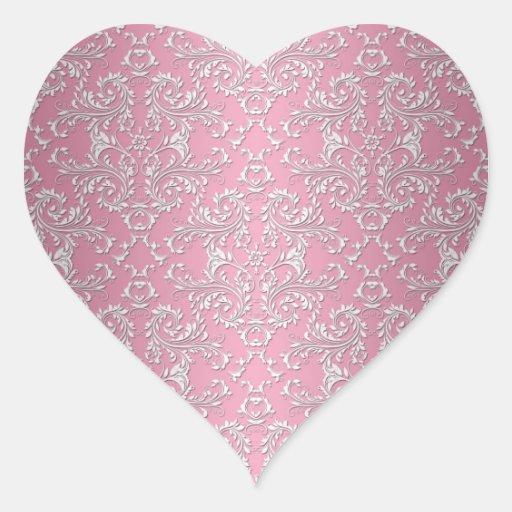 Girly Pink Victorian Damask Pattern Heart Stickers