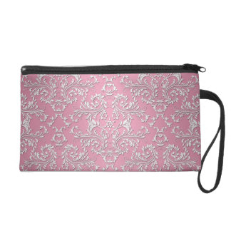 Girly Pink Victorian Damask Pattern Wristlet Clutch