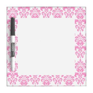 Girly Pink Vintage Damask Pattern 2 Dry Erase White Board