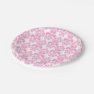 Girly Pink Vintage Damask Pattern 2 7 Inch Paper Plate