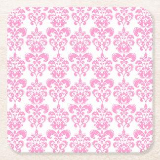 Girly Pink Vintage Damask Pattern 2 Square Paper Coaster
