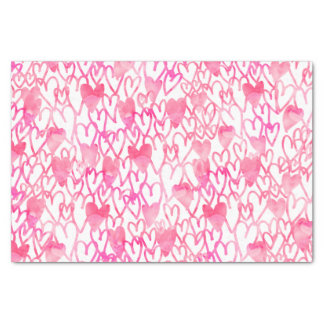 Girly pink watercolor hand drawn hearts pattern tissue paper