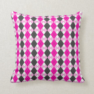 Girly Pink, White and Grey Argyle Plaid Pattern Cushion