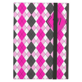 Girly Pink, White and Grey Argyle Plaid Pattern iPad Air Case