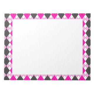 Girly Pink, White and Grey Argyle Plaid Pattern Notepad