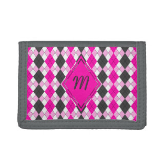 Girly Pink, White and Grey Argyle Plaid Pattern Tri-fold Wallet