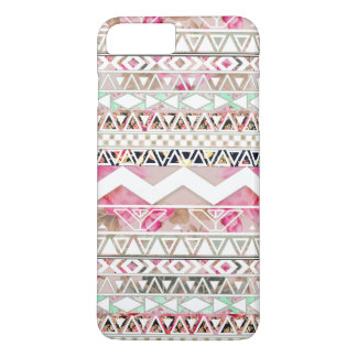 Girly Pink White Floral Abstract Aztec Pattern iPhone 7 Plus Case
