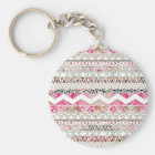 Girly Pink White Floral Abstract Aztec Pattern Key Ring