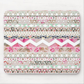 Girly Pink White Floral Abstract Aztec Pattern Mouse Mat