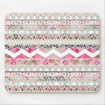 Girly Pink White Floral Abstract Aztec Pattern Mouse Pads