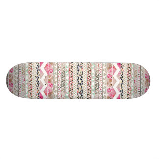 Girly Pink White Floral Abstract Aztec Pattern Skateboard Deck