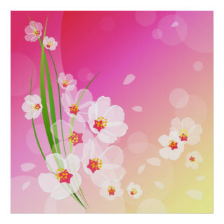 Girly Pink White Floral Collage Poster