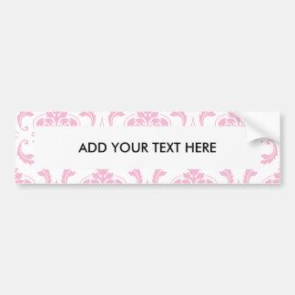 Girly Pink White Vintage Damask Pattern Car Bumper Sticker
